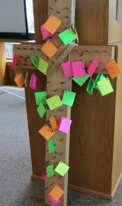 Retreat cross with prayers--from Julie McCarty