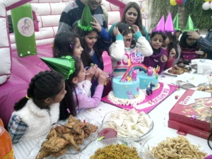Umair's niece celebrating birthday with her friends