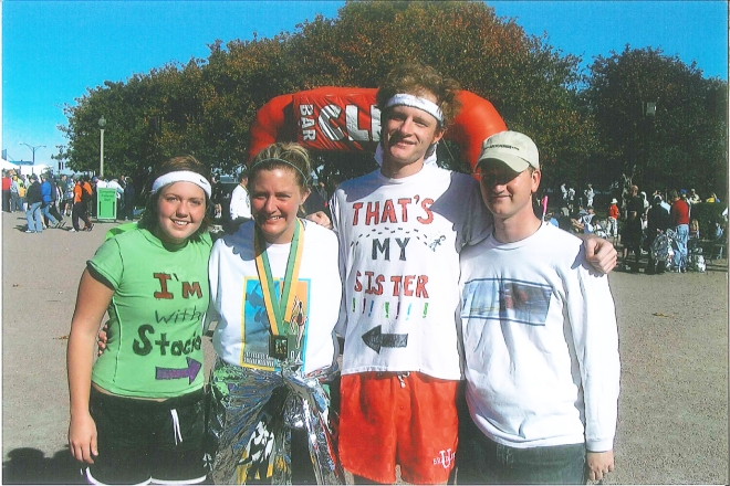 The marathon my sister ran around ten years ago. From L-R: Kelly Kohlhaas (family friend), Stacia Newton-Drover (my sister), me, and Chase Drover (Stacia's husband)