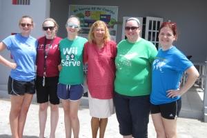 Emma Wingad, Karina Johnson, Courtney , Miriam, Sarah Barber, Sarah Lardy in front of the Salvation Army building