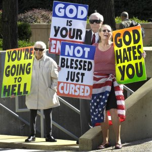 "Image spotted on Equal Rights Institute Blog (see below for more info) -- ""If what you're doing remotely looks like what Westboro Baptist Church protests looks like, it's worth immediate reevaluation. Image: LonelyConservative.com"""