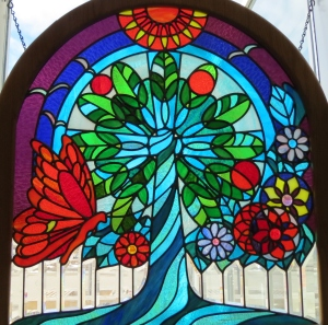 Stained glass window at Easter Lutheran Church